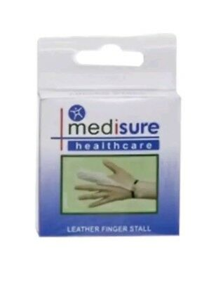Large Medisure Leather Finger Stall Sprain Injury Support Protection First Aid