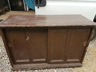 Large Antique Pine Cupboard with Sliding Doors - can deliver
