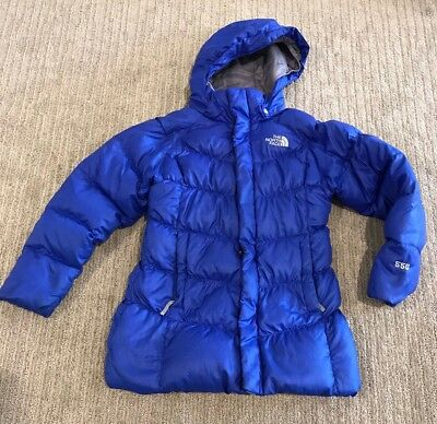 The North Face Girls Blue Down Coat 7/8 7 8 Puffer Jacket Winter Longer Style