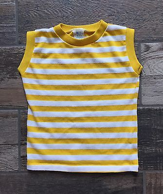 Vintage 1990's Size M Medium 5/6 Boys Sears Striped Cut Off Sleeve Shirt USA