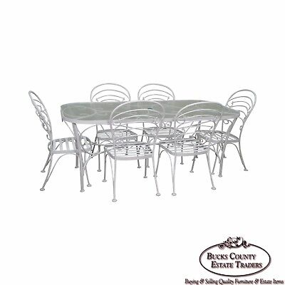 Woodard White Painted Oval Glass Top Patio Dining Table & 6 Chair Set