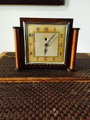 Vintage Mantle Clock. Art Deco Oak Smith Sectric . Electric Clock C-1930s.