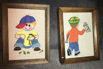 Vintage Pair Of Crosstitch Embroidered Little Boy Wall Art 5 X 7 MCM A3