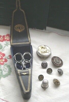 VICTORIAN 19th c. SEWING ITEMS Sterling Thimble Scissors Owl Eye Tape Measure