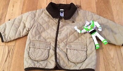 Baby Gap Boys Infant Size 6-12 Months Tan Quilted Jacket GUC!!