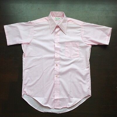 Vintage Royal Knight 70s Pink Short Sleeve Button Front Shirt Mens 15 Fits M USA