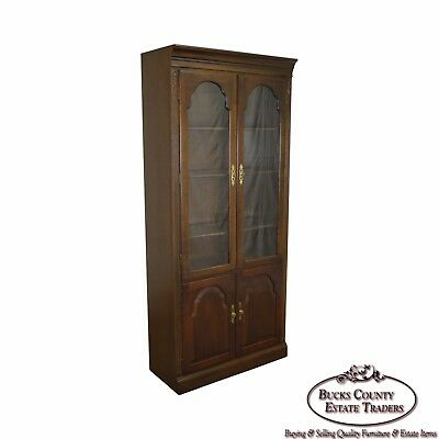 Ethan Allen Georgian Court Cherry Wood Bookcase Display Cabinet