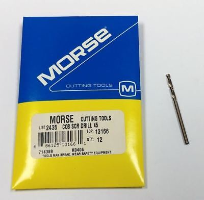 #45 Cobalt Screw Machine Drill, (Pack of 12) Morse 13166