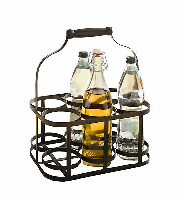 Kitchen Utensil Holder 6-Bottle Metal Rack Basket Caddy Holder with Wood Handle