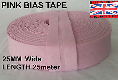 25mm /1 inch RED Cotton Bias Binding Tape Folded Trimming Edging 25 meter roll
