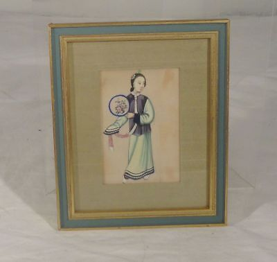 Antique Chinese Export Painting Rice Pith Paper Lady Theater