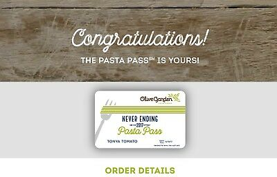 2 Olive Garden Never Ending Pasta Pass All You Can Eat For 8 Weeks Cad Picclick Ca
