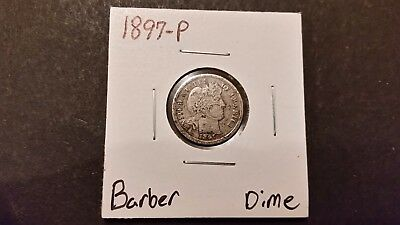 1897-P Barber Dime! 90% Silver! Free Shipping!