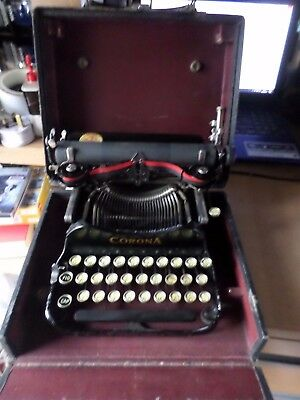 rare Vintage Corona Folding manual portable cased typewriter
