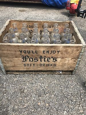 Antique/vintage Posties Bottles With Crate