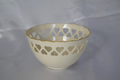 "Lenox China Heart Bowl Ivory 5.5"" Hand Decorated with 24k Gold Trim"
