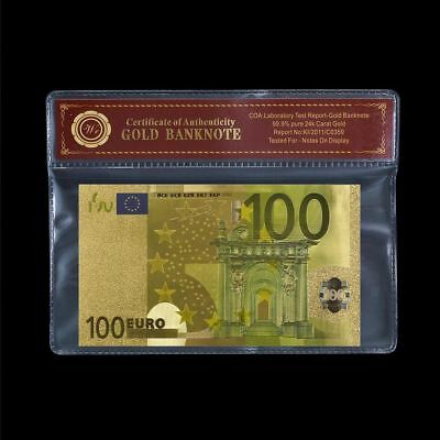 WR Novelty $100 Euro Colored Bank Note 24K Gold Foil Europe Collectible Gift+COA