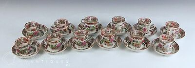 Gorgeous Set Of 12 Antique Chinese Famille Rose Porcelain  Cups And Saucers Set