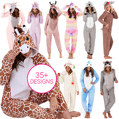 Ladies Girls 1Onesie All In One Hooded Cute Animal Fleece Jumpsuit Pyjama Set