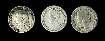 Lot of 3 Netherlands 10 Cents silver coins 1890 1897 1912