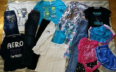 HUGE Lot Girls Clothes 10/12 Justice Aeropastle Nike Jeans Shirts Active Shorts