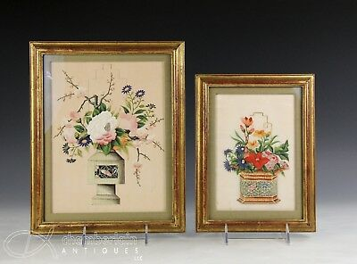 Two Beautiful Antique Chinese Framed Pith Rice Paper Paintings Of Flowers
