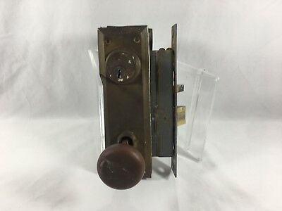 Antique Yale Mortise Lock and Knob Set Brass Salvage