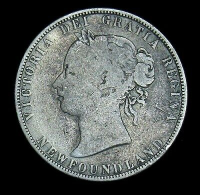 1874 Newfoundland 50 Cents silver coin KM# 6 -- 80,000 minted Canada