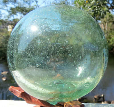 """Japanese Glass Fishing Float 4"""" BUBBLES Sea Green w/Stand Vintage"""