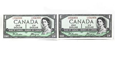 1954 Bank Of Canada $1 Dollars Bank Notes Devil's Face 2 X Consecutive Rare T/a