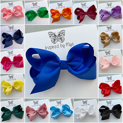 "Girls Hair Clip Womens Bow Large 4"" School Dance Party Hair Accessories Big Team"