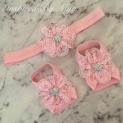 Baby Girls Barefoot Sandals Lace Foot Flower Silver Shoes Headband Pink