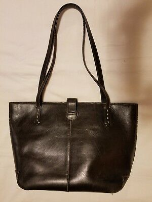 Large Franklin Covey Leather Tote Bag Black Leather Book Bag