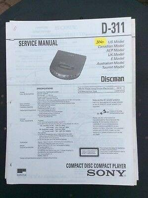 Sony D-311 CD Player Service Manual.