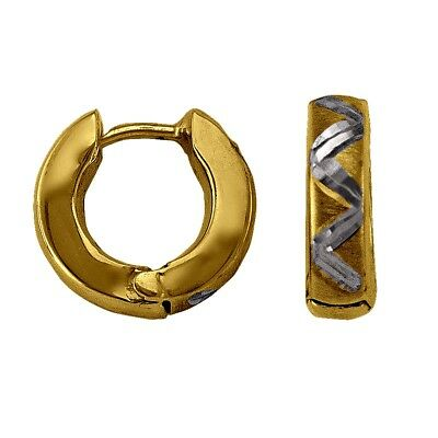 10k two tone gold(3mm thick)huggies earrings(1.7gr/12mm)
