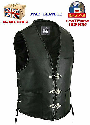 Mens Real Leather Fish Hook Buckle Side Adjustment Laces Biker Waistcoat/vest