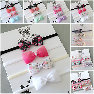 4x Headband Baby Girl Toddler Newborn Small Flower Bow Nylon Hair Band Accessory