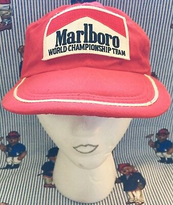 Vintage 90's Rare Marlboro Red Adventure Team Hat w/ clear Pocket Elastic Fitted