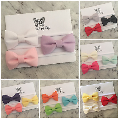 3x Headband Baby Girl Toddler Newborn Pastel Bow Nylon Hair Clips Accessory