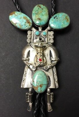 Kachina Turquoise Sterling Silver Bolo Tie Leather Necklace - W Denetdale Navajo