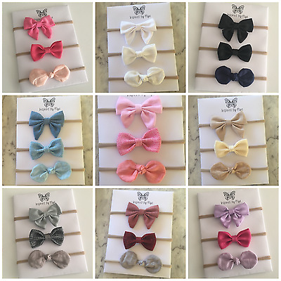 3x Headband Baby Girl Toddler Newborn Pink Fabric Bow Nylon Hair Accessory