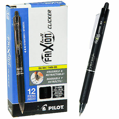 Pilot Frixion Ball Clicker 0.7 Retractable Erasable Black Ink Gel Pen, Box of 12