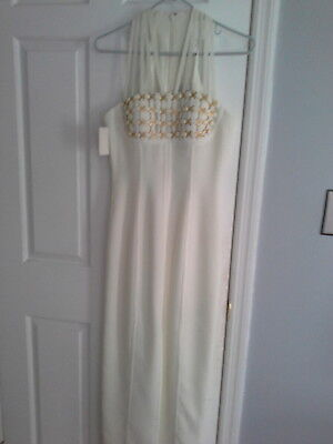 CREATIVE CREATIONS Ivory Evening Cocktail Formal Prom Dress  Size 4