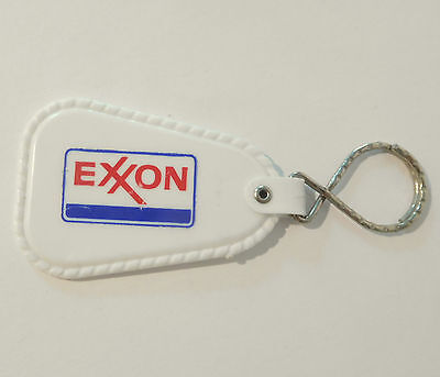 Exxon Oil Gasoline Gas Key Ring Keychain White