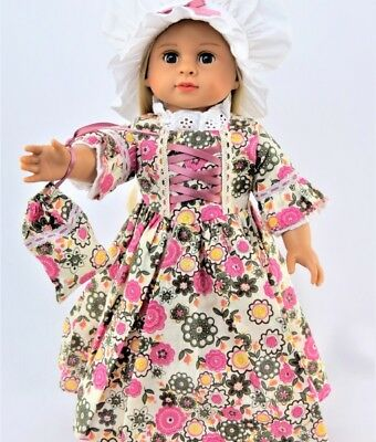 """Doll Clothes 18"""" Doll Colonial Dress Floral Fits American Girl Doll Felicity"""
