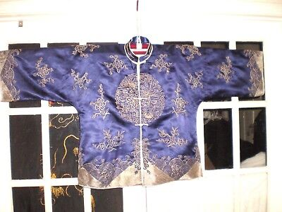 Qing D. Chinese Blue Silk Robe/Jacket Embroidered w/Fish Lotus Waves & Water