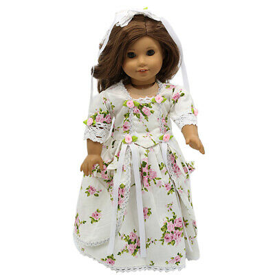 """Doll Clothes 18"""" Colonial Dress Pink White Floral Fits American Girl Dolls"""