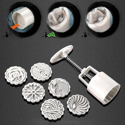 Round Cake Mold Mooncake Mould 6 Stamps Fower Moon Cake Decor Baking Tools FQ