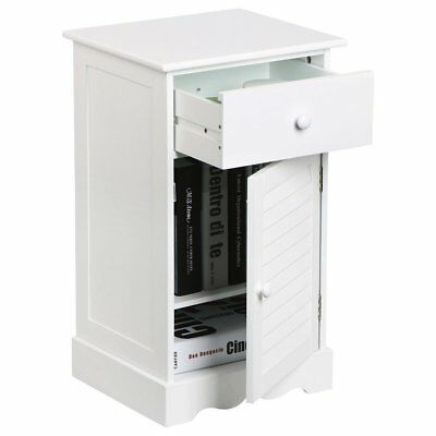 New Modern Bedside Cabinet 1 Drawer 1 Door with 2 layers Storage Unit White UK