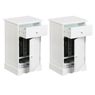 2 Pcs Modern Bedside Cabinet 1 Drawer 1 Door with 2 layers Storage Unit White UK